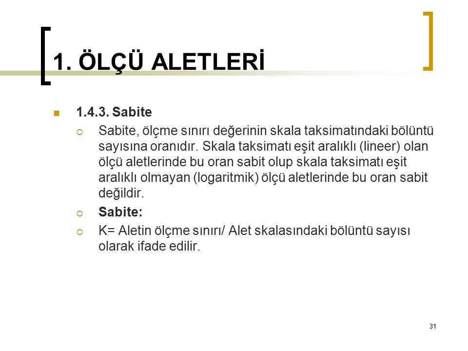 1. ÖLÇÜ ALETLERİ 1.4.3. Sabite.