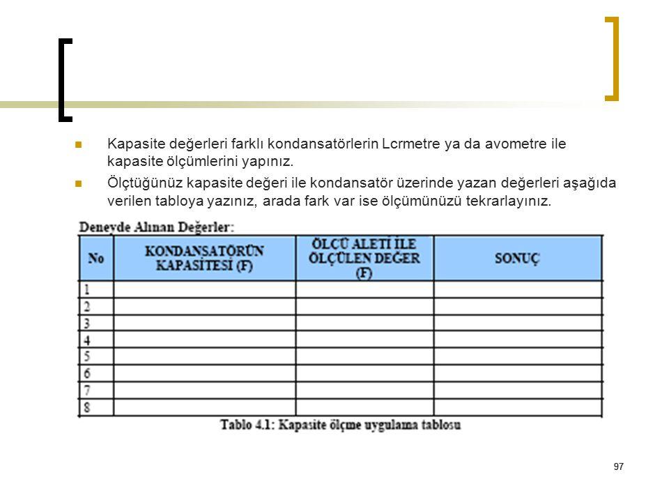 Kapasite değerleri farklı kondansatörlerin Lcrmetre ya da avometre ile kapasite ölçümlerini yapınız.