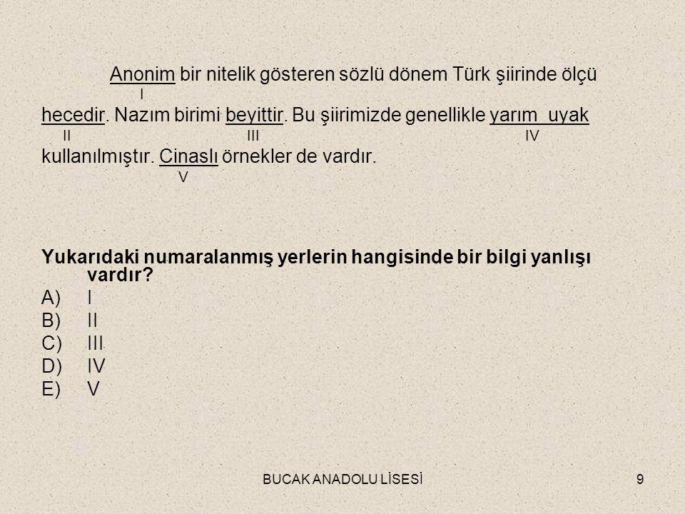 Anonim bir nitelik gösteren sözlü dönem Türk şiirinde ölçü