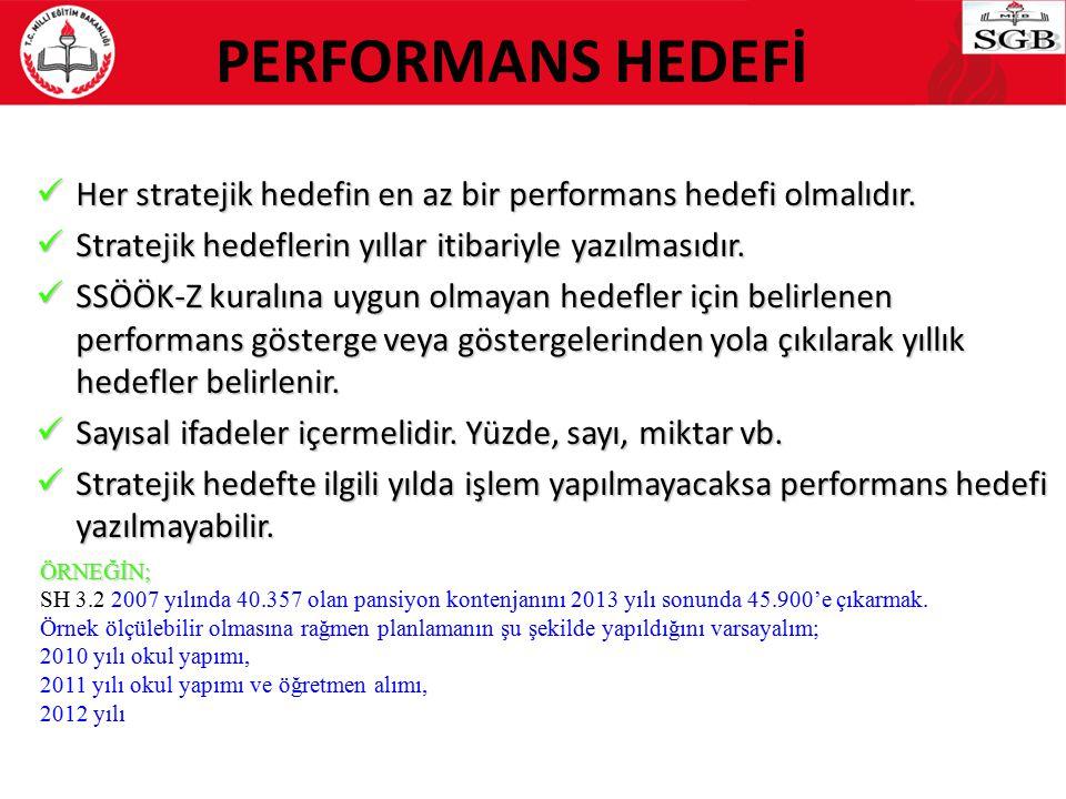 PERFORMANS HEDEFİ Her stratejik hedefin en az bir performans hedefi olmalıdır. Stratejik hedeflerin yıllar itibariyle yazılmasıdır.