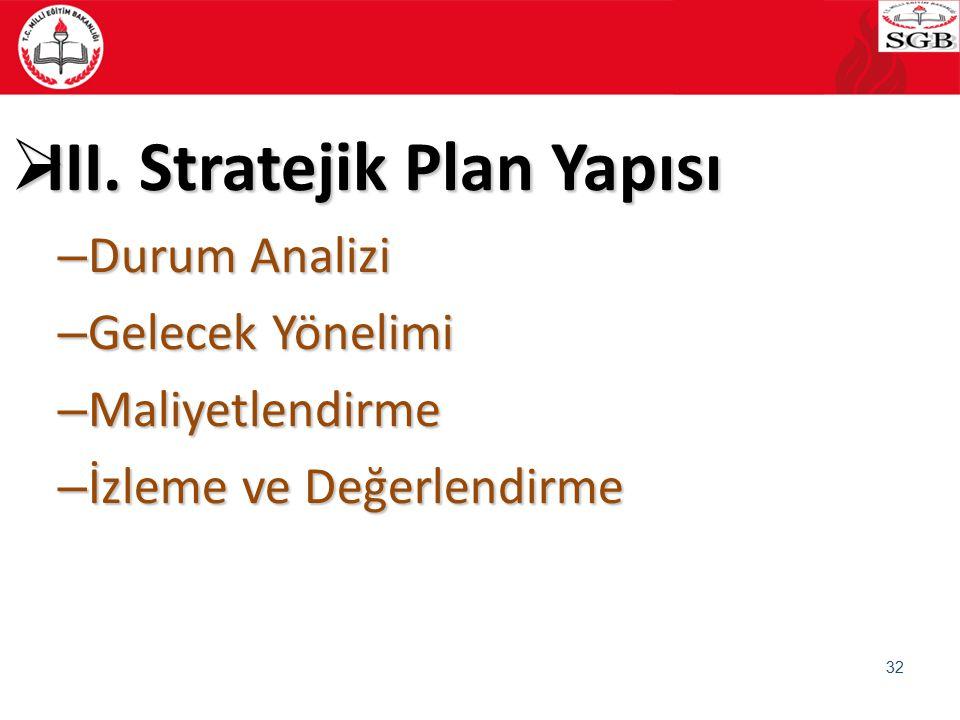 III. Stratejik Plan Yapısı