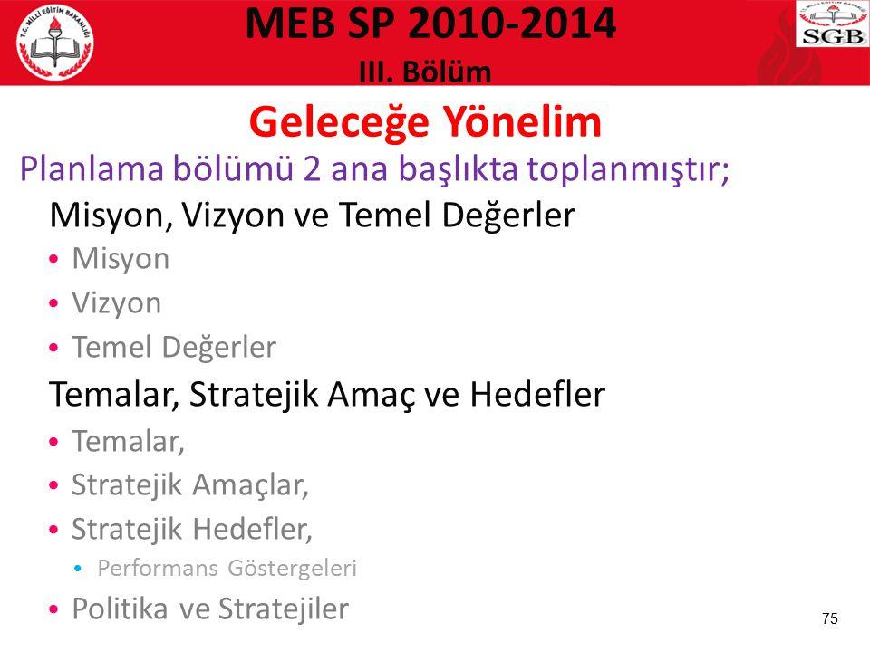 MEB SP 2010-2014 III. Bölüm Geleceğe Yönelim