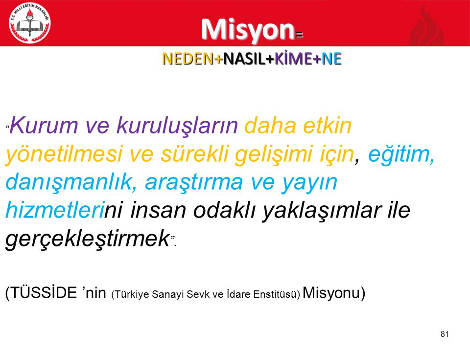 Misyon= NEDEN+NASIL+KİME+NE
