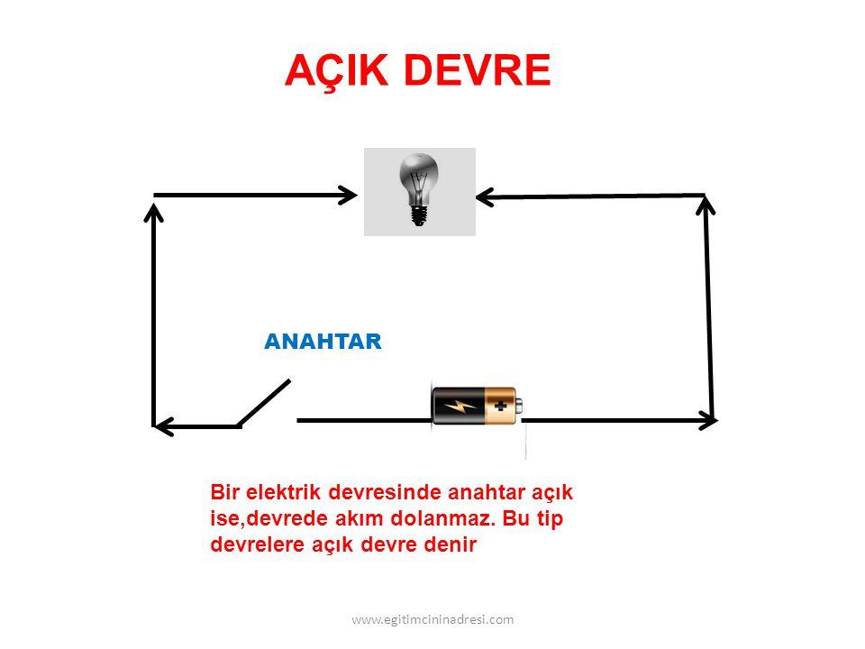AÇIK DEVRE ANAHTAR. Bir elektrik devresinde anahtar açık ise,devrede akım dolanmaz. Bu tip devrelere açık devre denir.