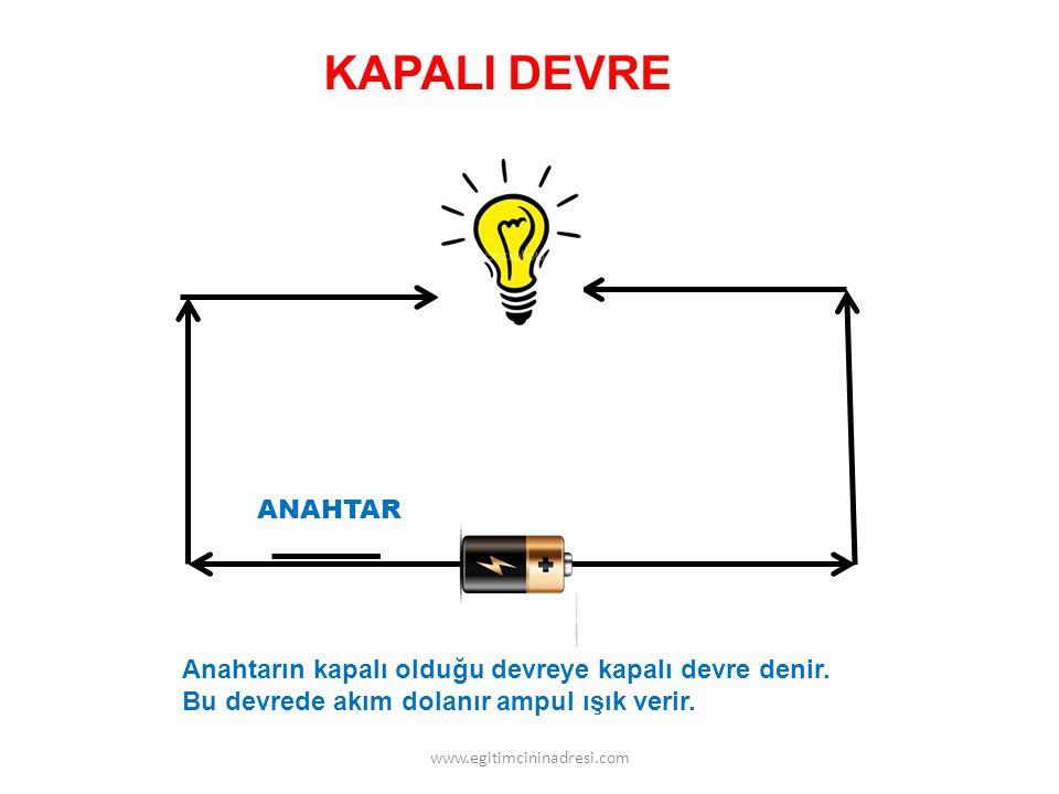 KAPALI DEVRE ANAHTAR. Anahtarın kapalı olduğu devreye kapalı devre denir. Bu devrede akım dolanır ampul ışık verir.