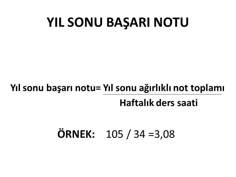 YIL SONU BAŞARI NOTU ÖRNEK: 105 / 34 =3,08