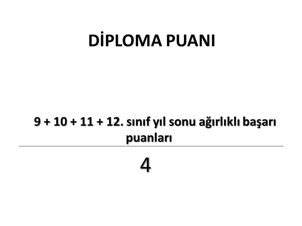 9 + 10 + 11 + 12. sınıf yıl sonu ağırlıklı başarı puanları