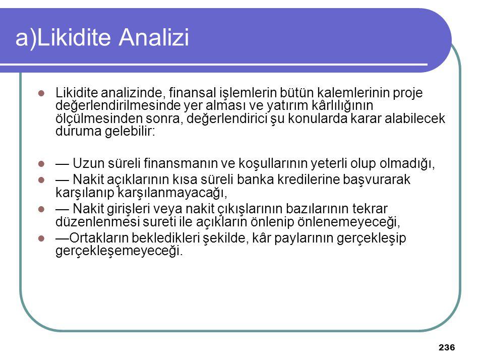 a)Likidite Analizi