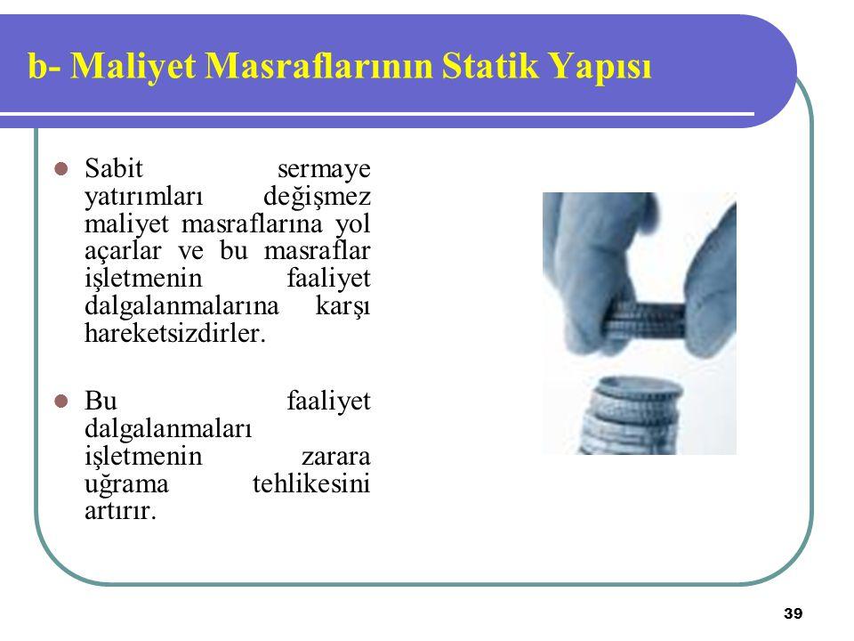 b- Maliyet Masraflarının Statik Yapısı