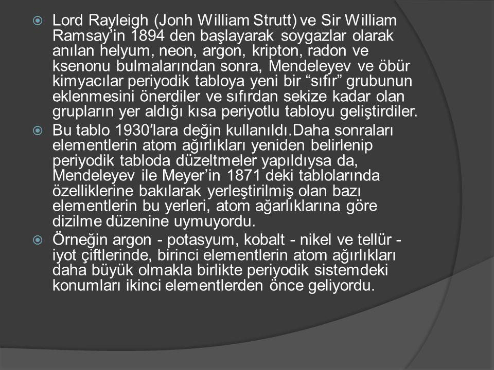 Lord Rayleigh (Jonh William Strutt) ve Sir William Ramsay'in 1894 den başlayarak soygazlar olarak anılan helyum, neon, argon, kripton, radon ve ksenonu bulmalarından sonra, Mendeleyev ve öbür kimyacılar periyodik tabloya yeni bir sıfır grubunun eklenmesini önerdiler ve sıfırdan sekize kadar olan grupların yer aldığı kısa periyotlu tabloyu geliştirdiler.