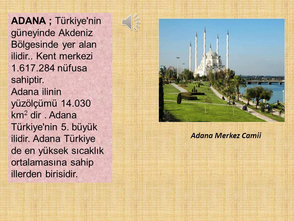ADANA ; Türkiye nin güneyinde Akdeniz Bölgesinde yer alan ilidir