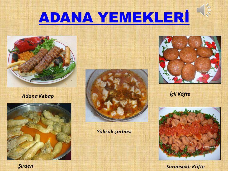 ADANA YEMEKLERİ İçli Köfte Adana Kebap Yüksük çorbası Şirden
