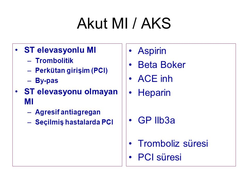 Akut MI / AKS Aspirin Beta Boker ACE inh Heparin GP IIb3a