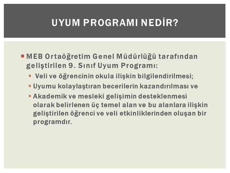 UYUM PROGRAMI NEDİR MEB Ortaöğretim Genel Müdürlüğü tarafından geliştirilen 9. Sınıf Uyum Programı: