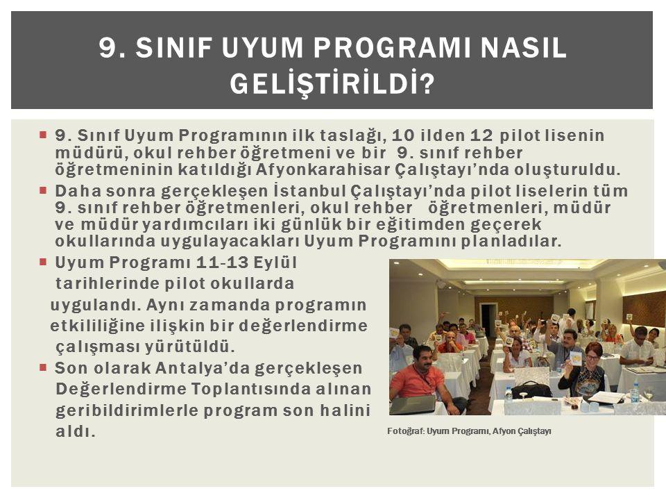 9. SINIF UYUM PROGRAMI NASIL GELİŞTİRİLDİ