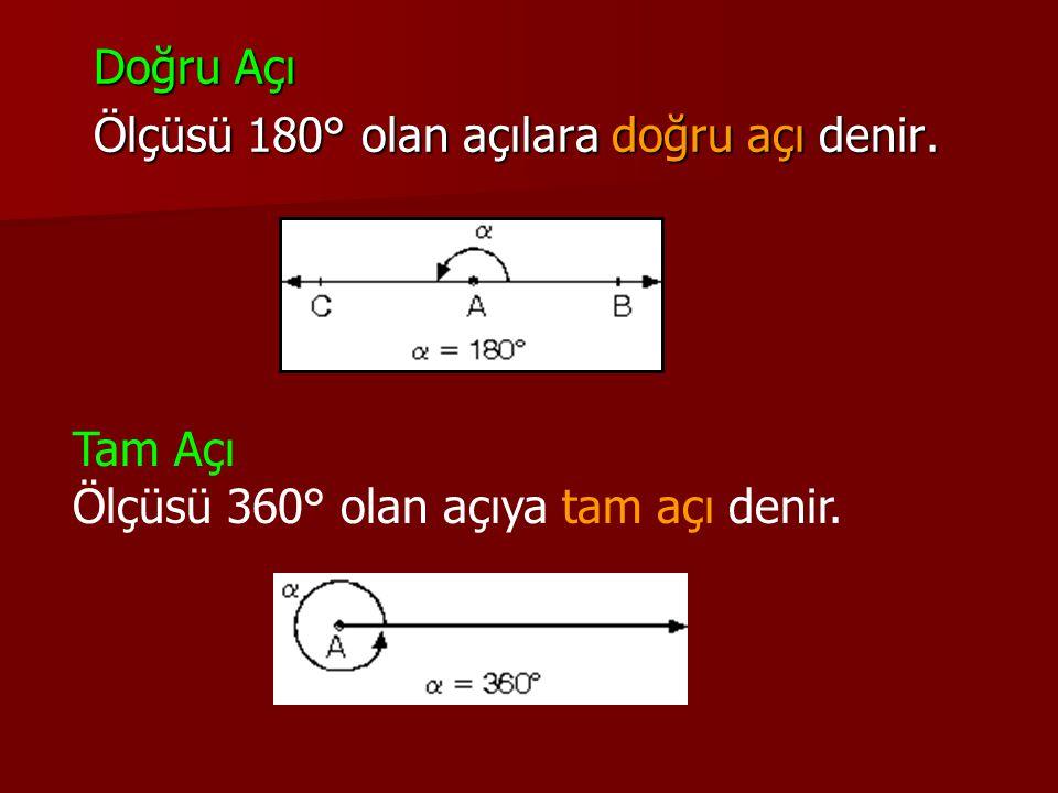 Doğru Açı Ölçüsü 180° olan açılara doğru açı denir.