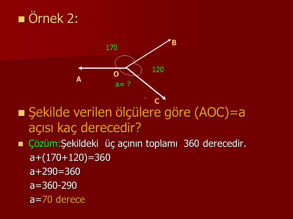Şekilde verilen ölçülere göre (AOC)=a açısı kaç derecedir
