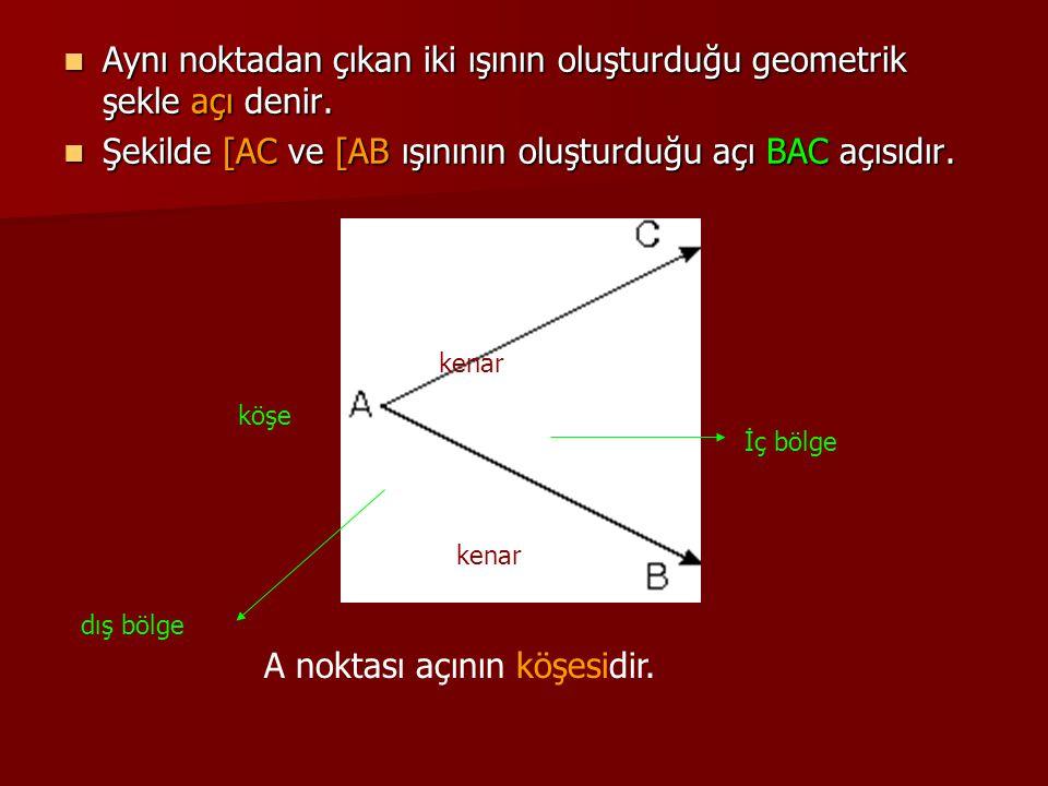 Aynı noktadan çıkan iki ışının oluşturduğu geometrik şekle açı denir.
