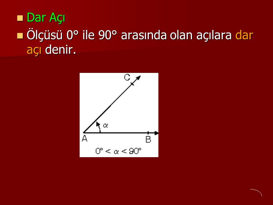 Dar Açı Ölçüsü 0° ile 90° arasında olan açılara dar açı denir.