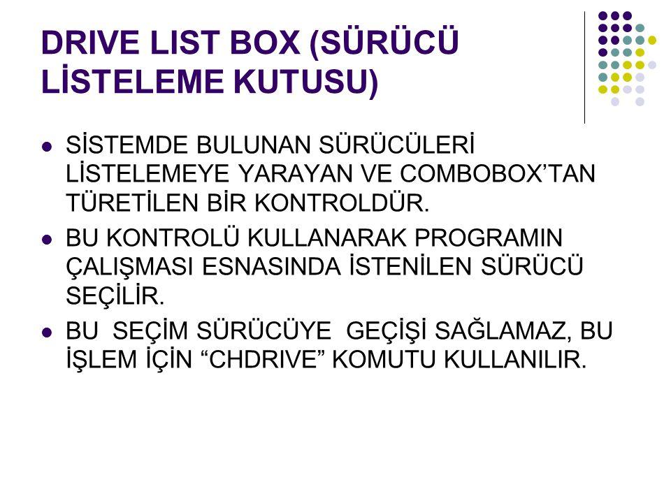 DRIVE LIST BOX (SÜRÜCÜ LİSTELEME KUTUSU)