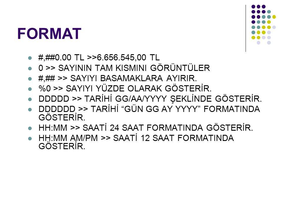 FORMAT #,##0.00 TL >>6.656.545,00 TL