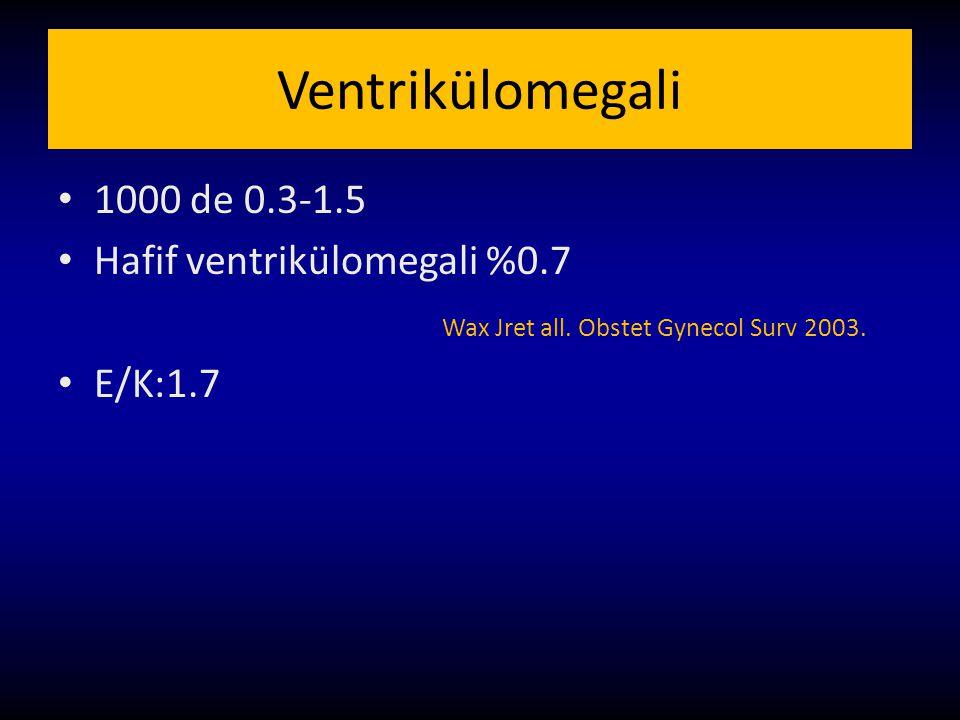 Ventrikülomegali 1000 de 0.3-1.5 Hafif ventrikülomegali %0.7