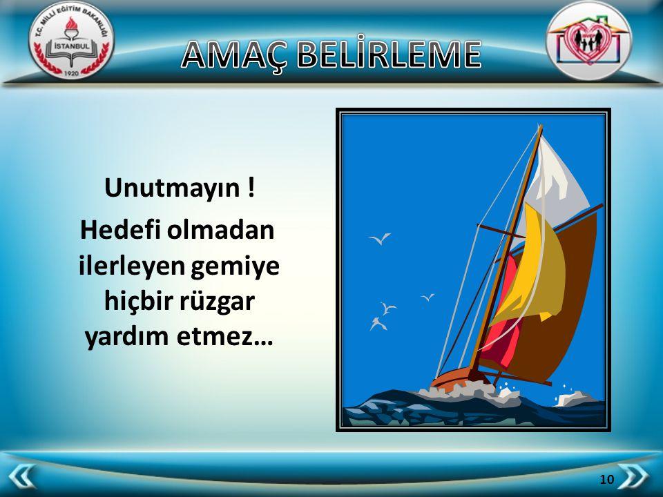 Hedefi olmadan ilerleyen gemiye hiçbir rüzgar yardım etmez…