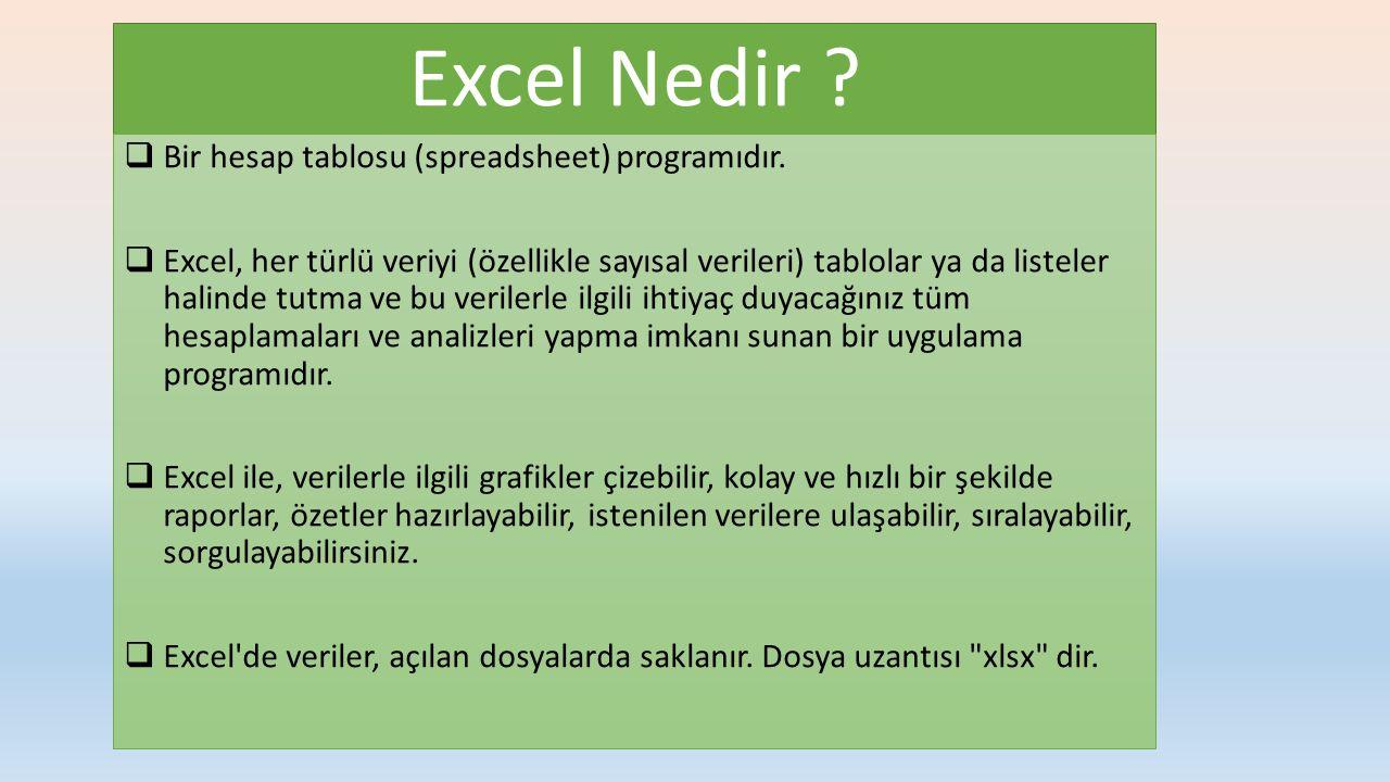 Excel Nedir Bir hesap tablosu (spreadsheet) programıdır.