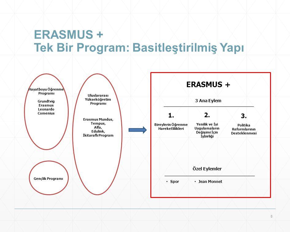 ERASMUS + Tek Bir Program: Basitleştirilmiş Yapı