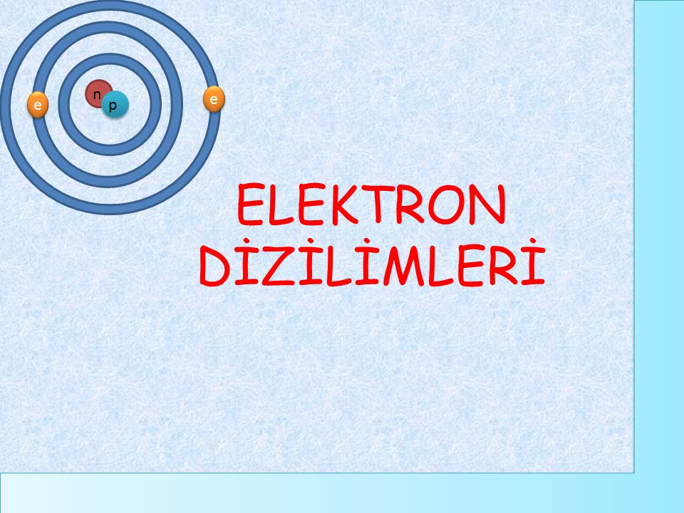 ELEKTRON DİZİLİMLERİ