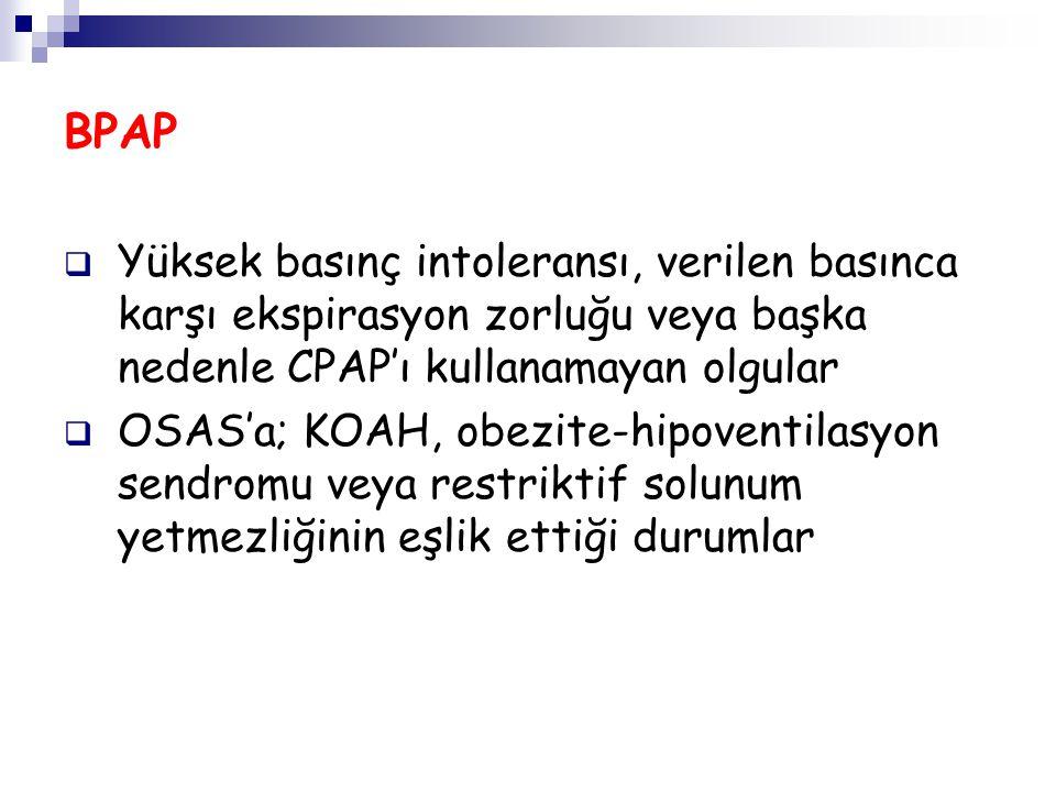 BPAP Yüksek basınç intoleransı, verilen basınca karşı ekspirasyon zorluğu veya başka nedenle CPAP'ı kullanamayan olgular.