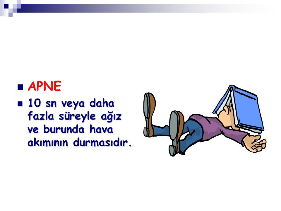 APNE 10 sn veya daha fazla süreyle ağız ve burunda hava akımının durmasıdır.