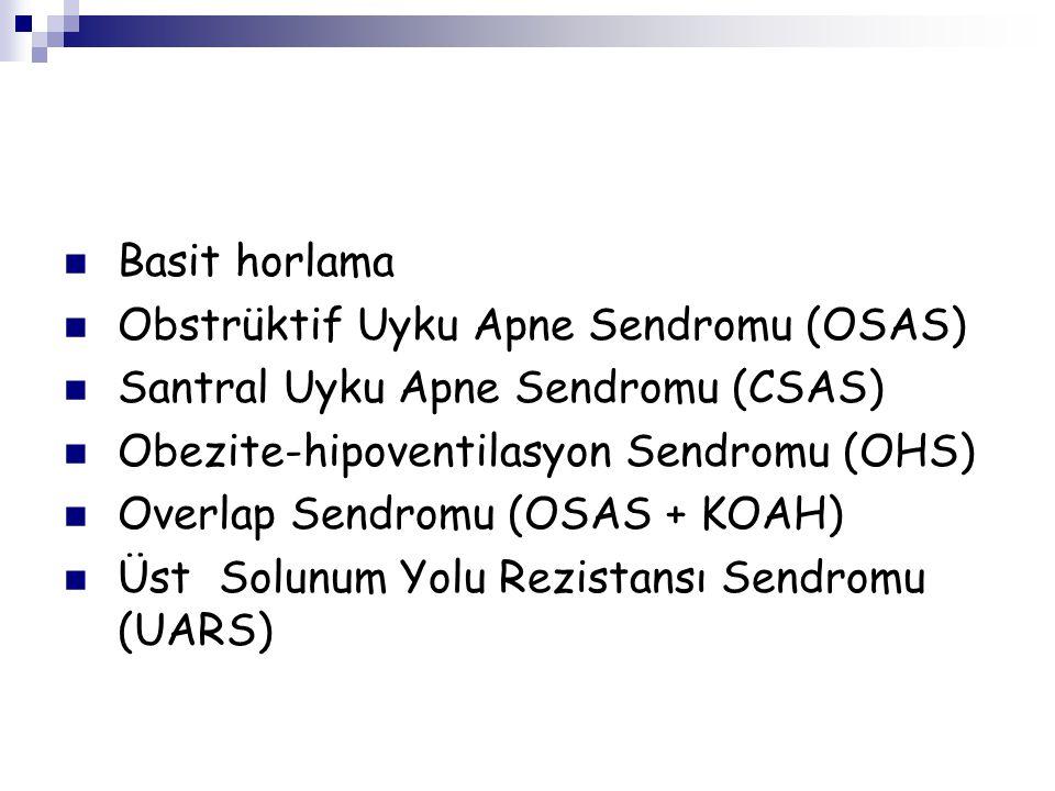 Basit horlama Obstrüktif Uyku Apne Sendromu (OSAS) Santral Uyku Apne Sendromu (CSAS) Obezite-hipoventilasyon Sendromu (OHS)