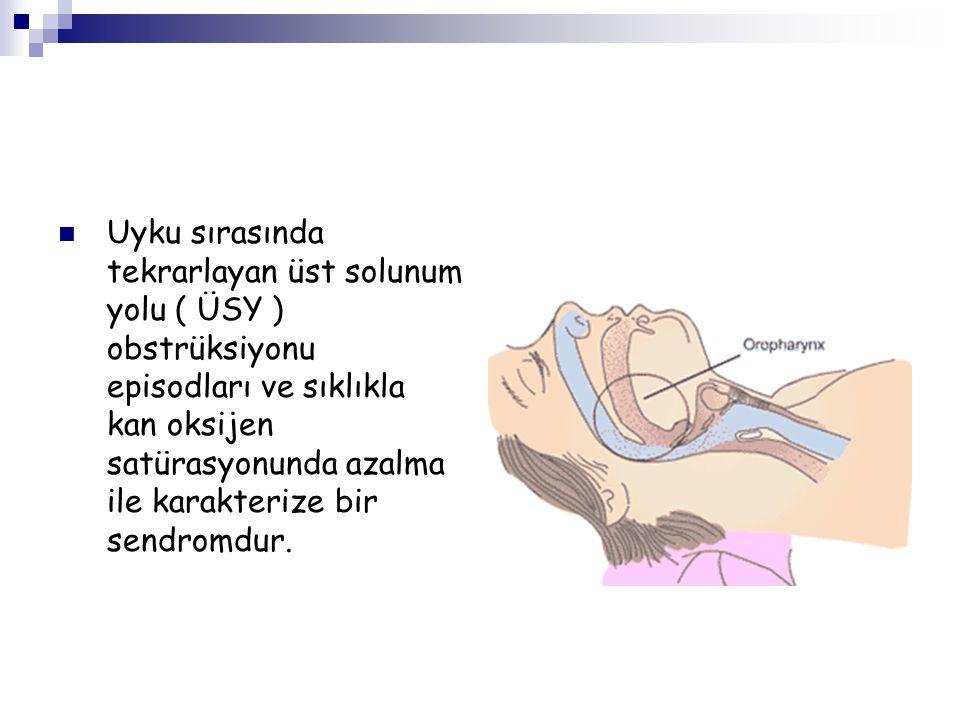 Uyku sırasında tekrarlayan üst solunum yolu ( ÜSY ) obstrüksiyonu episodları ve sıklıkla kan oksijen satürasyonunda azalma ile karakterize bir sendromdur.