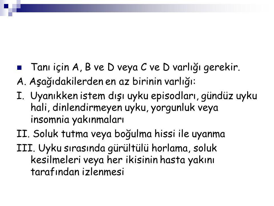 Tanı için A, B ve D veya C ve D varlığı gerekir.