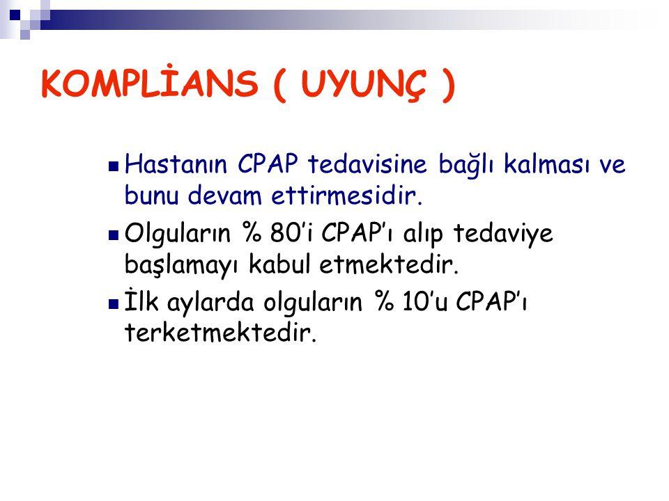KOMPLİANS ( UYUNÇ ) Hastanın CPAP tedavisine bağlı kalması ve bunu devam ettirmesidir.