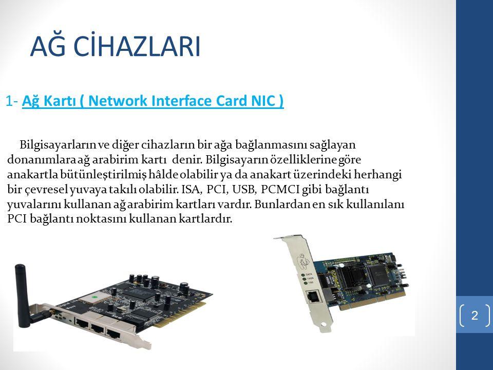 AĞ CİHAZLARI 1- Ağ Kartı ( Network Interface Card NIC )