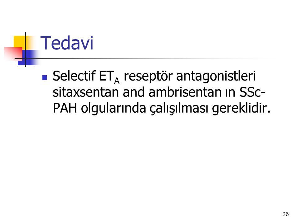 Tedavi Selectif ETA reseptör antagonistleri sitaxsentan and ambrisentan ın SSc-PAH olgularında çalışılması gereklidir.
