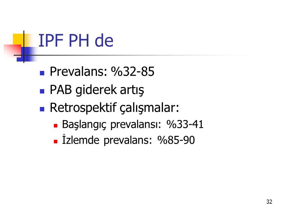 IPF PH de Prevalans: %32-85 PAB giderek artış Retrospektif çalışmalar: