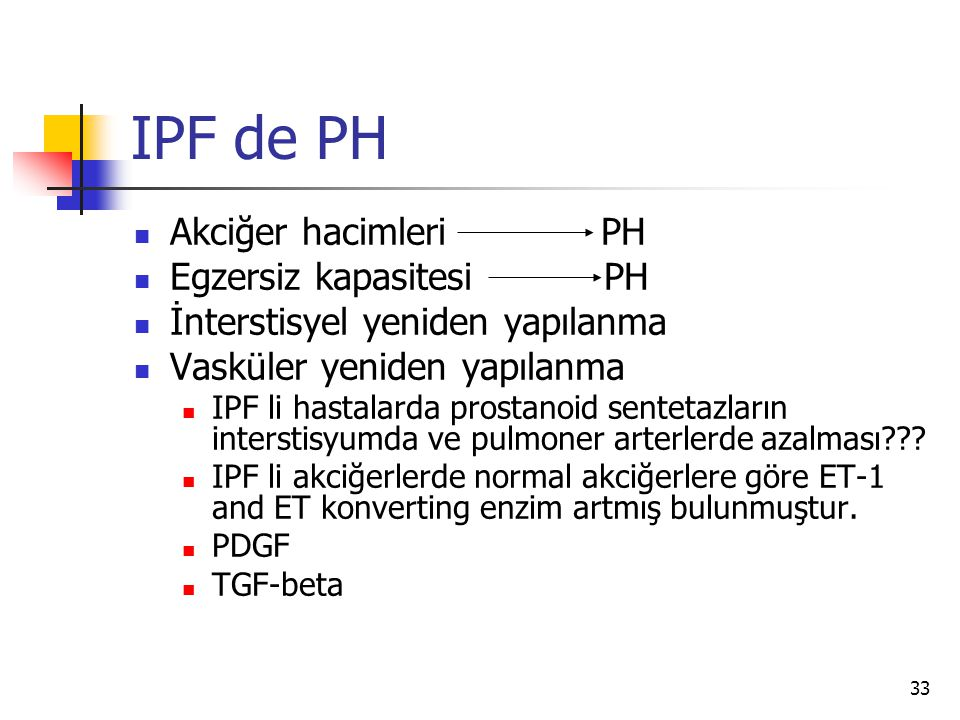 IPF de PH Akciğer hacimleri PH Egzersiz kapasitesi PH