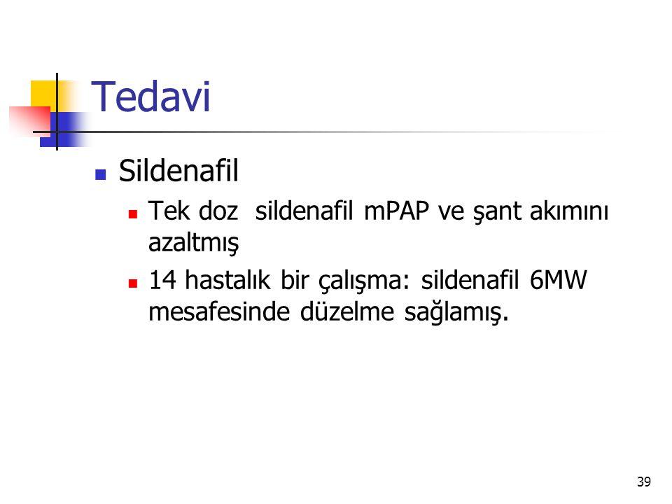 Tedavi Sildenafil Tek doz sildenafil mPAP ve şant akımını azaltmış