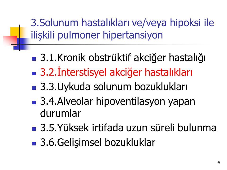 3.Solunum hastalıkları ve/veya hipoksi ile ilişkili pulmoner hipertansiyon