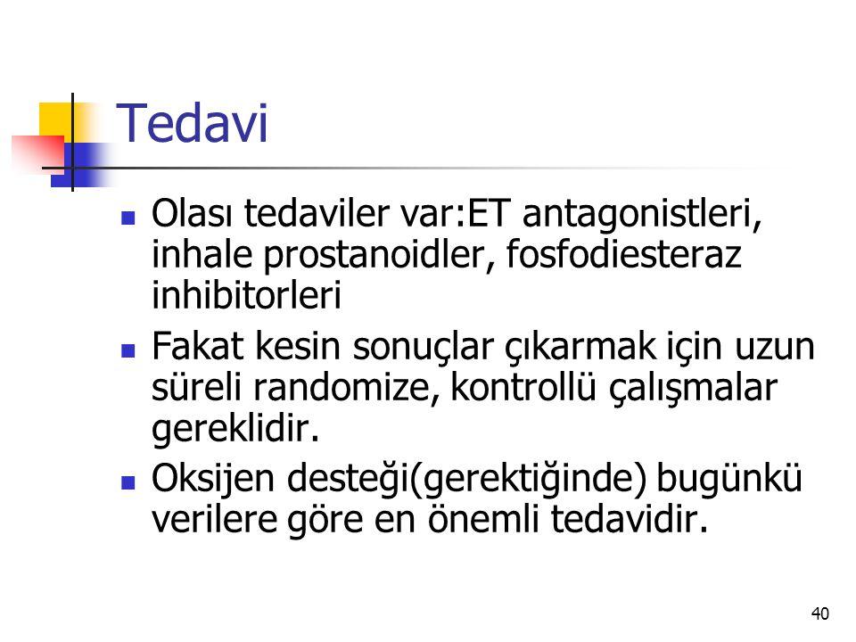 Tedavi Olası tedaviler var:ET antagonistleri, inhale prostanoidler, fosfodiesteraz inhibitorleri.