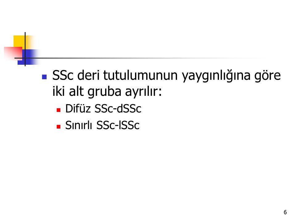 SSc deri tutulumunun yaygınlığına göre iki alt gruba ayrılır: