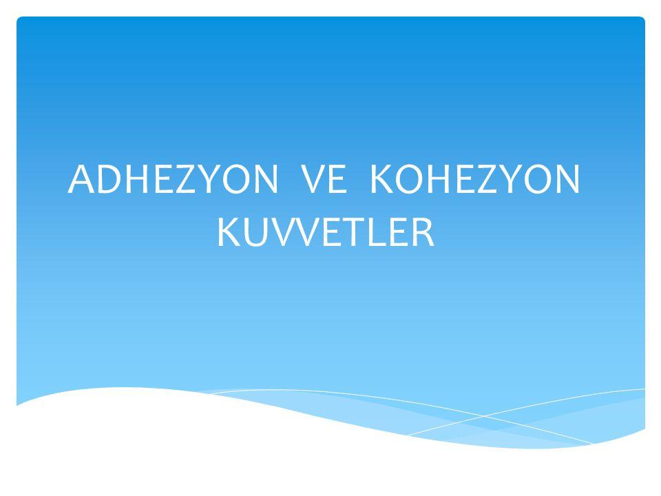 ADHEZYON VE KOHEZYON KUVVETLER