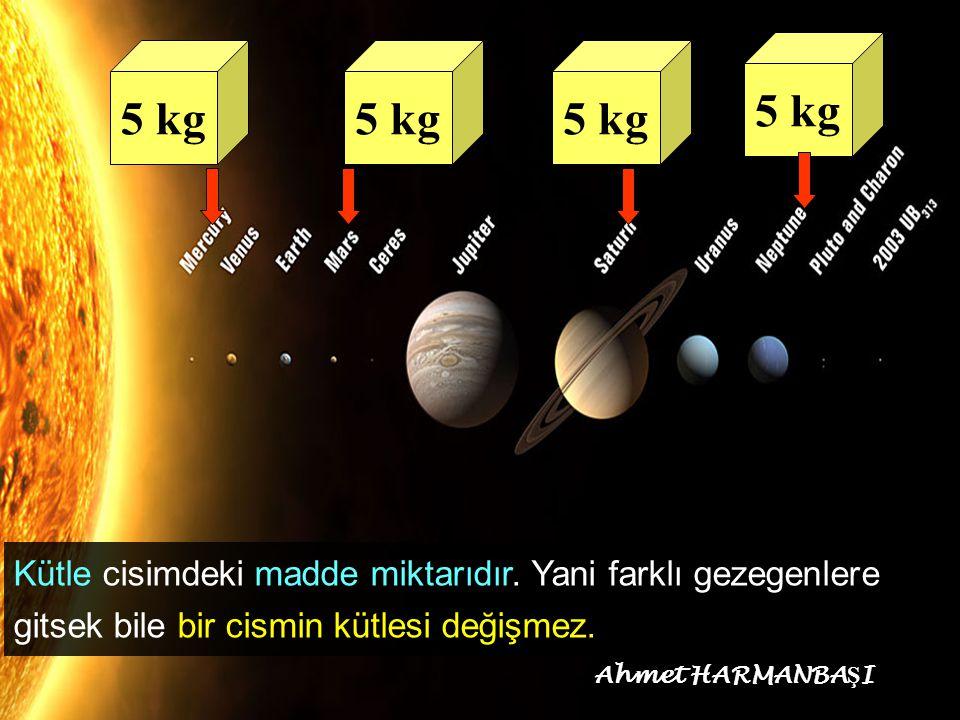 5 kg 5 kg. 5 kg. 5 kg. Kütle cisimdeki madde miktarıdır. Yani farklı gezegenlere gitsek bile bir cismin kütlesi değişmez.