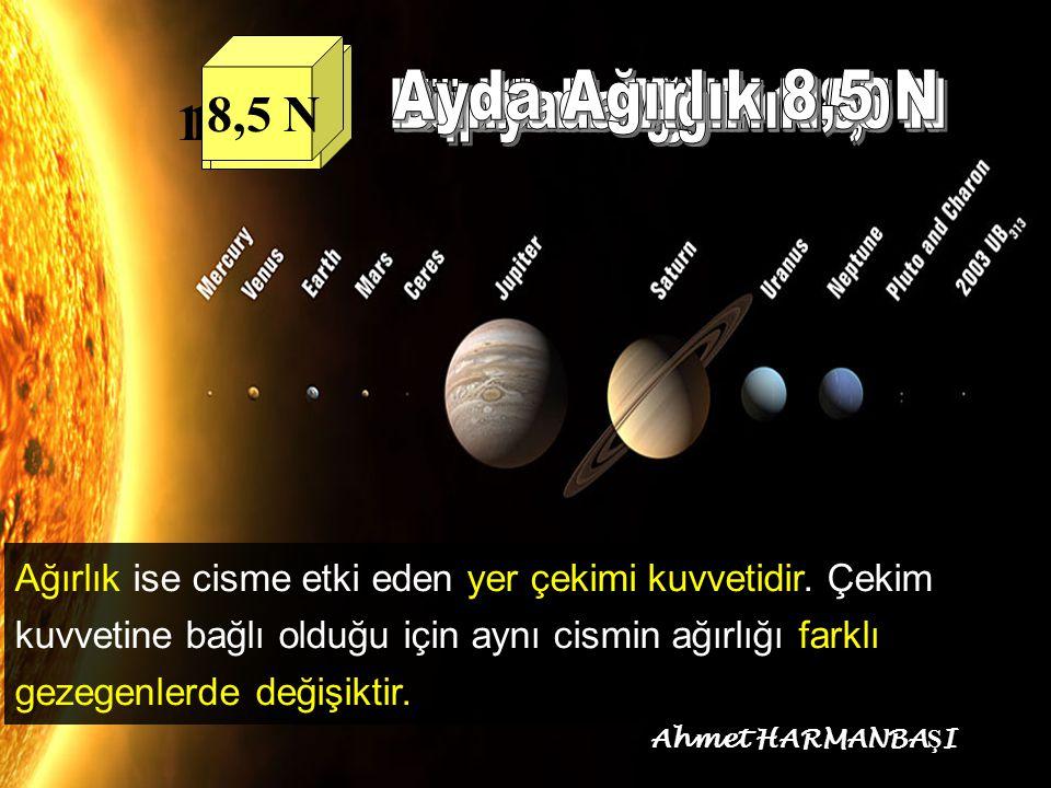 Ayda Ağırlık 8,5 N Neptünde Ağırlık 55 N Merkürde Ağırlık 18,5 N