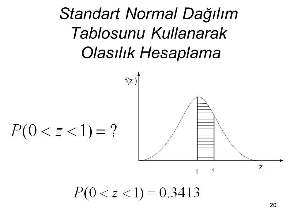 Standart Normal Dağılım Tablosunu Kullanarak Olasılık Hesaplama