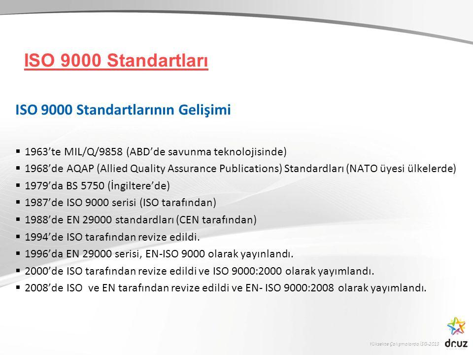 ISO 9000 Standartları ISO 9000 Standartlarının Gelişimi