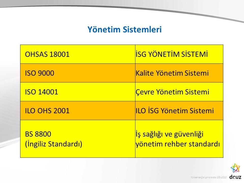Yönetim Sistemleri OHSAS 18001 İSG YÖNETİM SİSTEMİ ISO 9000